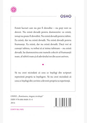 """Coperta 4 a cărții """"Iluminarea, singura revoluție"""""""