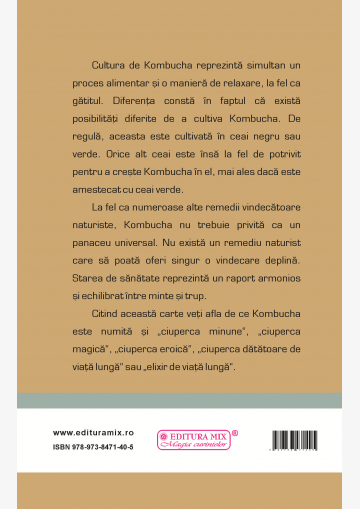 """Coperta 4 a cărții """"Kombucha. Ciuperca miraculoasă"""""""