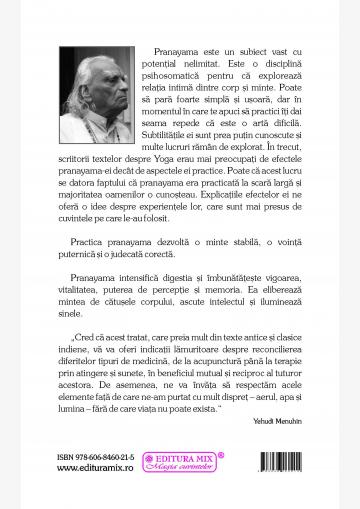 """Coperta 4 a cărții """"Lumină în pranayama"""""""