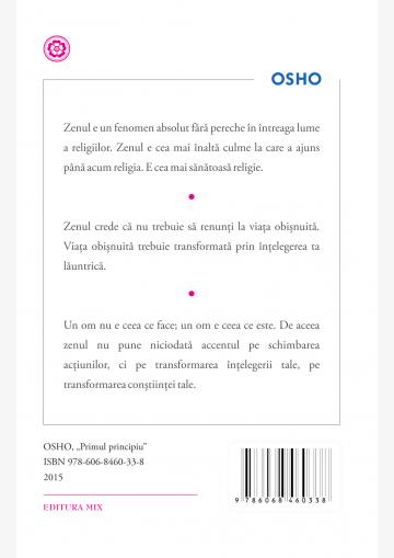 """Coperta 4 a cărții """"Primul principiu. Discursuri despre zen"""""""