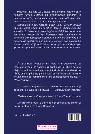 """Coperta 4 a cărții """"Profețiile de la Celestine"""""""